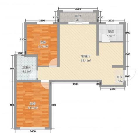 书芳苑小区2室2厅1卫1厨90.00㎡户型图