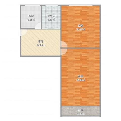 张桥小区2室1厅1卫1厨81.74㎡户型图