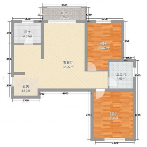 书芳苑小区2室2厅1卫1厨94.00㎡户型图
