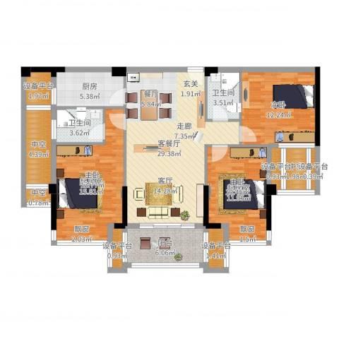 益阳铂金汉宫1室2厅2卫1厨126.00㎡户型图