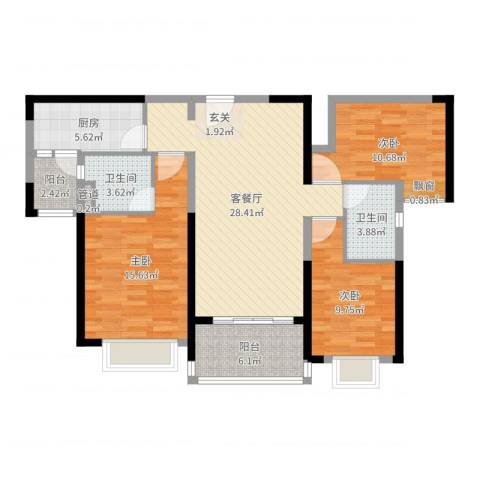 恒大绿洲3室2厅2卫1厨108.00㎡户型图