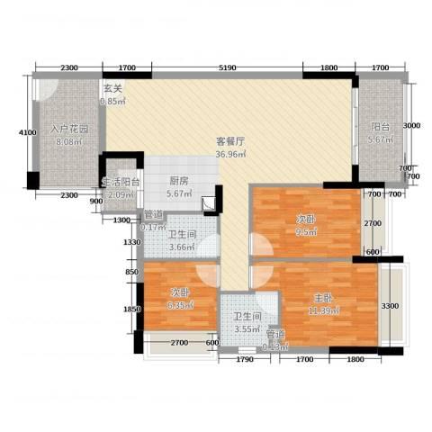 华南城十里东岸四期・绿卡3室2厅2卫0厨104.00㎡户型图