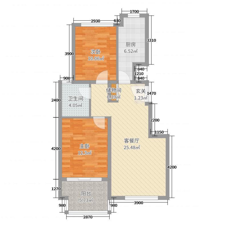 中节能健康城92.00㎡4#标准层A户型2室2厅1卫1厨