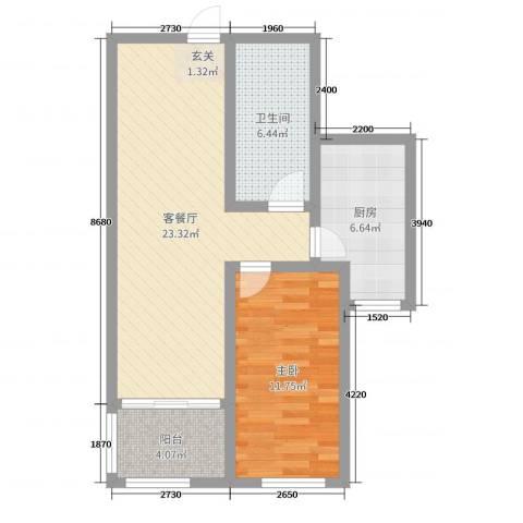 欧美世纪花园1室2厅1卫1厨65.00㎡户型图