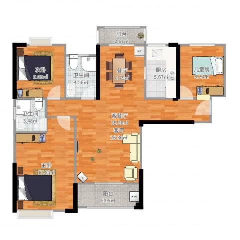中骏蓝湾香郡3室2厅2卫1厨91.93㎡户型图