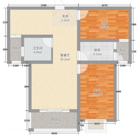金桥天海湾2室2厅1卫1厨94.00㎡户型图