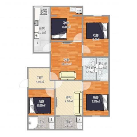 侨建大厦2室1厅2卫1厨87.00㎡户型图