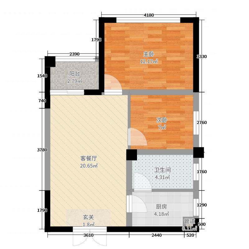 天晟海拔东方64.84㎡1、4号栋B1户型2室2厅1卫1厨
