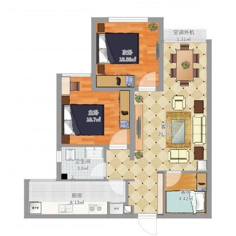 嘉和康桥A1-11-32室1厅1卫1厨80.00㎡户型图