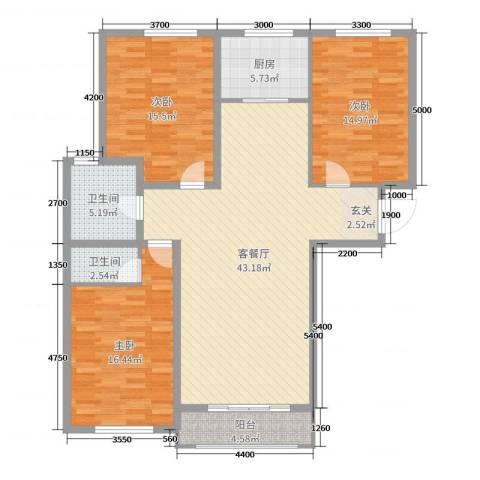书芳苑小区3室2厅2卫1厨138.00㎡户型图