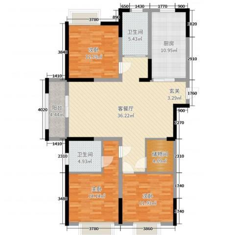 凯帝京都3室2厅2卫1厨131.00㎡户型图