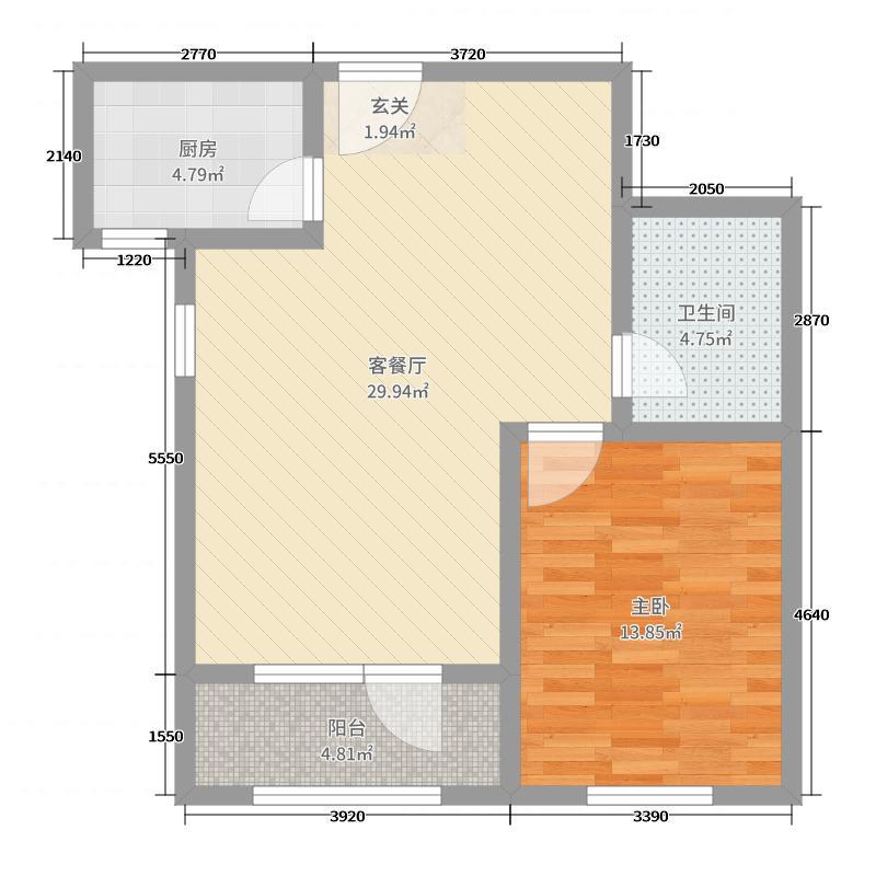 秀水山庄73.00㎡F户型1室1厅1卫1厨