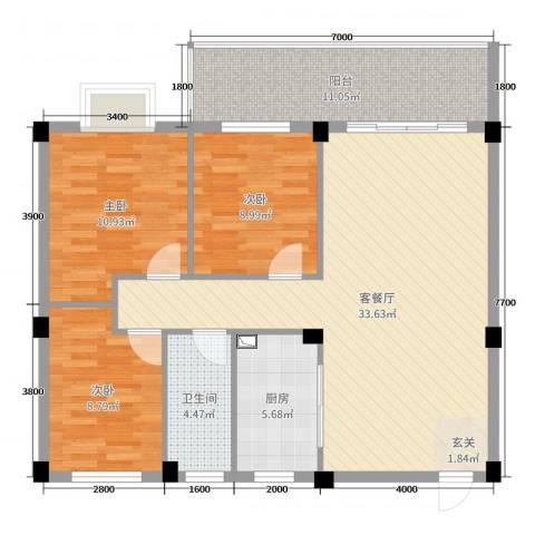 幸福家园二期3室2厅1卫1厨100.00㎡户型图