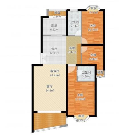 香榭里花园3室2厅2卫1厨128.00㎡户型图