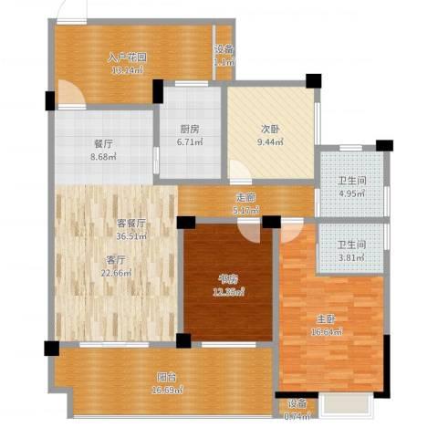 南郡明珠3室2厅2卫1厨153.00㎡户型图