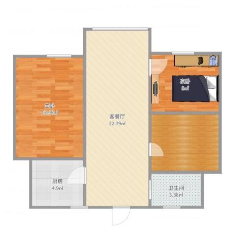 荷一小区2室2厅1卫1厨76.00㎡户型图