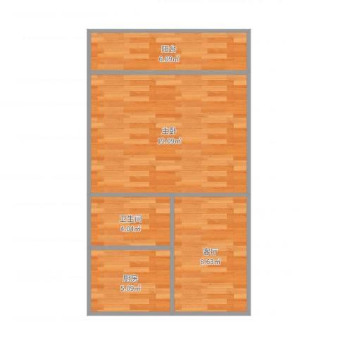 玉函小区1室1厅1卫1厨54.00㎡户型图