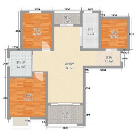 九华学府3室2厅1卫1厨99.00㎡户型图