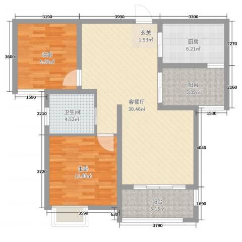 九华学府2室2厅1卫1厨93.00㎡户型图