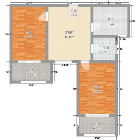 九华学府2室2厅1卫1厨88.00㎡户型图