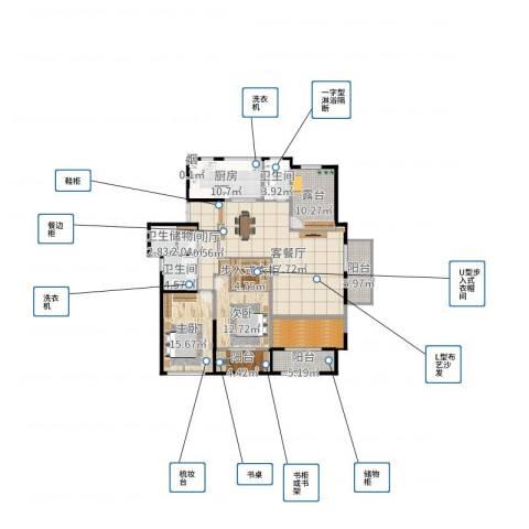 长宇棕榈湾2室2厅3卫1厨172.00㎡户型图