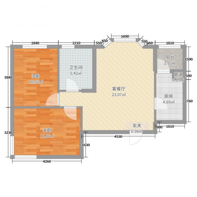 憬园3期上河�珠72.00㎡6号楼E1户型2室2厅1卫1厨