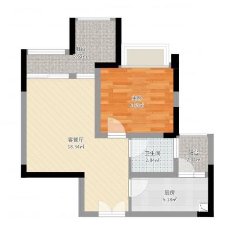 正升・时代港湾1室2厅1卫1厨54.00㎡户型图