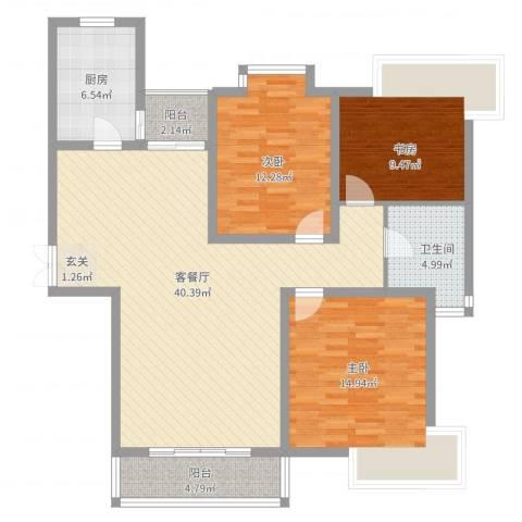 上海新城3室2厅1卫1厨136.00㎡户型图