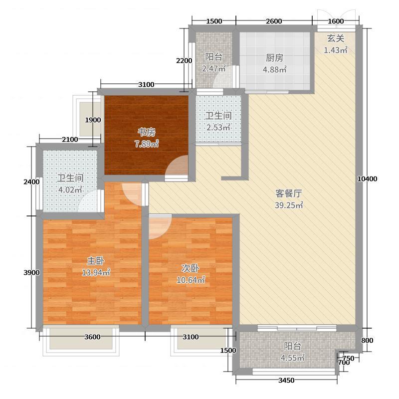 锦泰新城116.61㎡B户型3室3厅2卫1厨