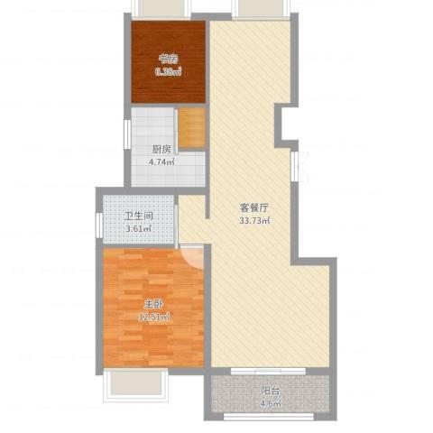 正德秋实园2室2厅1卫1厨83.00㎡户型图