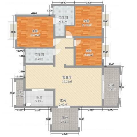 怡丰新城3室2厅2卫1厨130.00㎡户型图