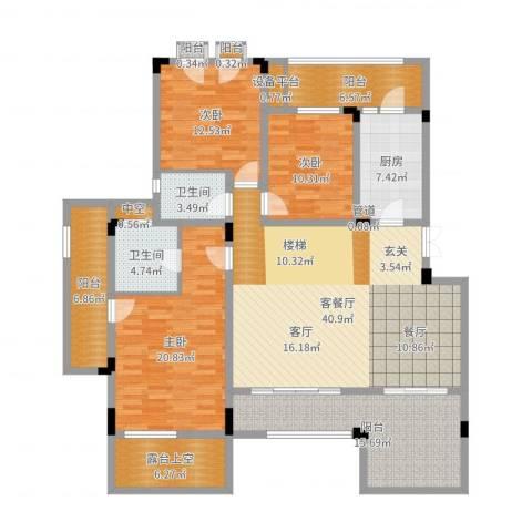 广厦城洛卡庄园3室2厅2卫1厨172.00㎡户型图