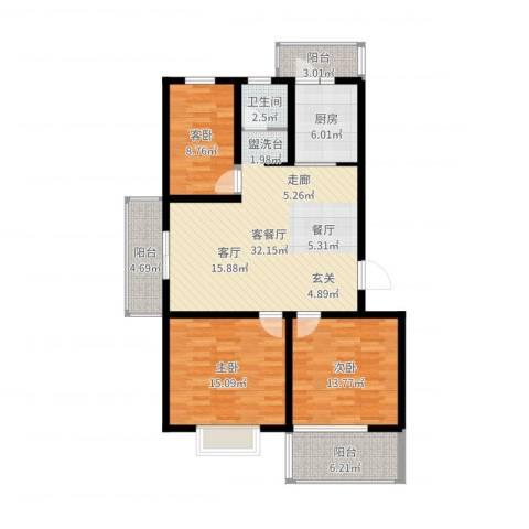 迪尚御园3室2厅1卫1厨115.00㎡户型图