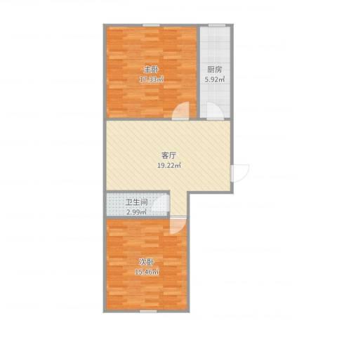 世纪新城2室1厅1卫1厨76.00㎡户型图