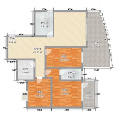 宏明大厦3室2厅2卫1厨134.00㎡户型图