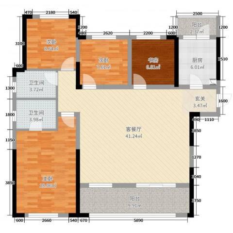 龙湖湘风星城4室2厅2卫1厨138.00㎡户型图