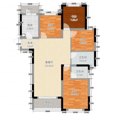 龙湖湘风星城4室2厅2卫1厨118.00㎡户型图