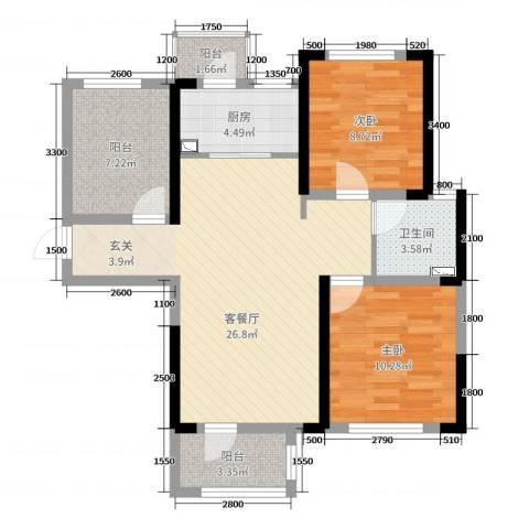 龙湖湘风星城2室2厅1卫1厨92.00㎡户型图