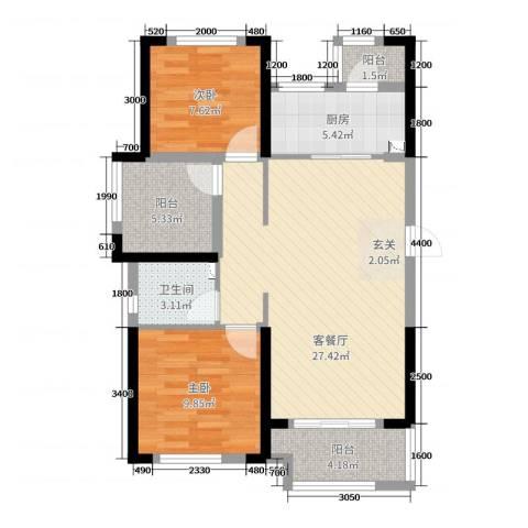 龙湖湘风星城2室2厅1卫1厨88.00㎡户型图