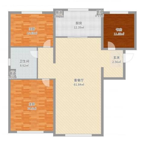 万科海港城3室2厅1卫1厨170.00㎡户型图