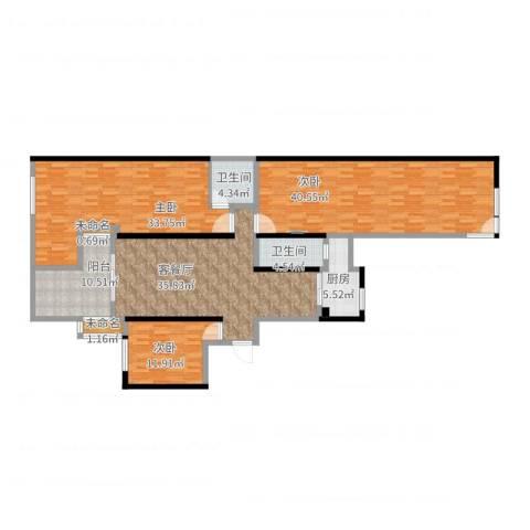 玉湖新城花园3室2厅2卫1厨210.00㎡户型图