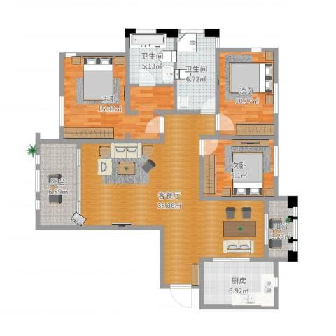 三川御锦台3室2厅2卫1厨128.00㎡户型图