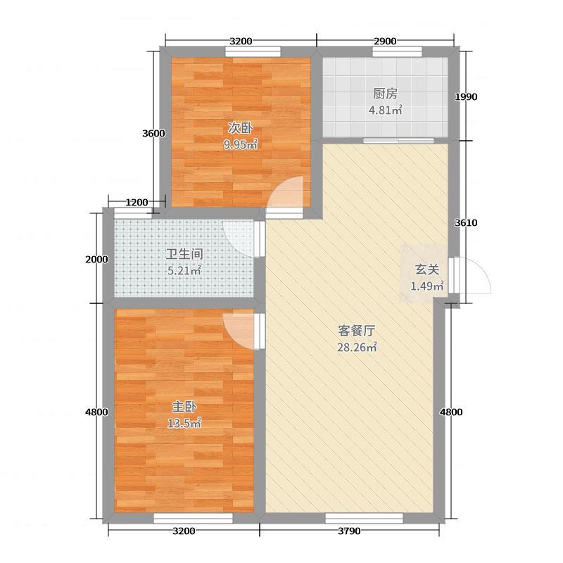 六合一方91.00㎡D区9户型2室2厅1卫1厨