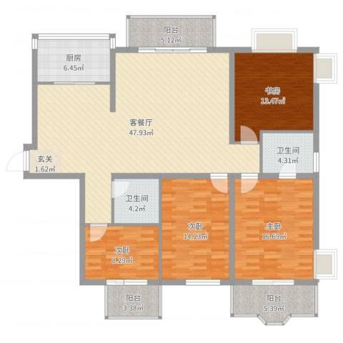名士阁4室2厅2卫1厨162.00㎡户型图