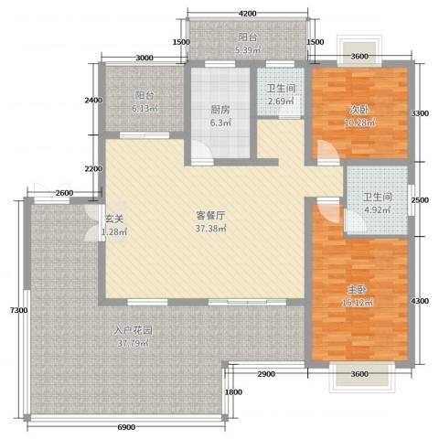 乐仙小镇2室2厅2卫1厨126.00㎡户型图