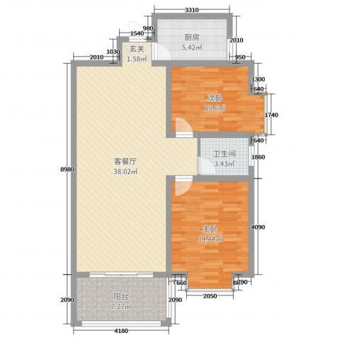 金秋怡源花园2室2厅1卫1厨99.00㎡户型图