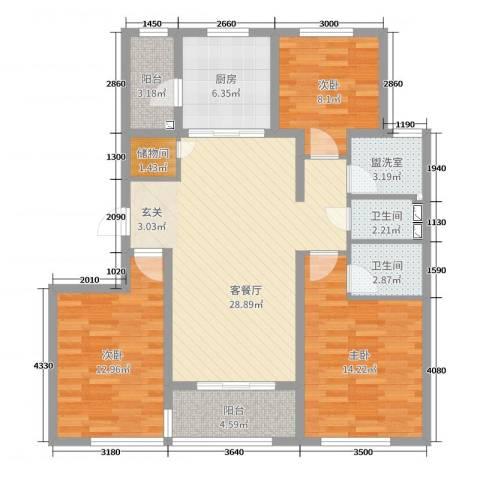万科金域东郡3室2厅2卫1厨110.00㎡户型图