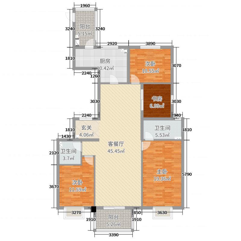 中国铁建・万科翡翠国际155.00㎡8#楼户型4室4厅2卫1厨