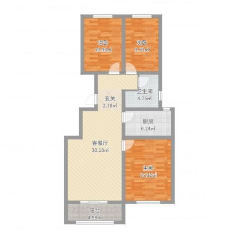 帝豪・丽水蓝湾3室2厅1卫1厨103.00㎡户型图