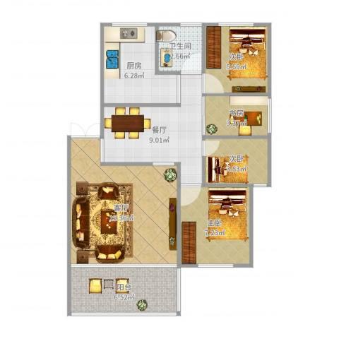 白莲新村4室2厅1卫1厨75.00㎡户型图